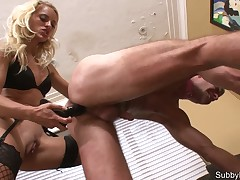Sexy milf mistress penetrated slave's anus with big strapon