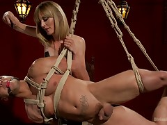 ELECTRO FEMDOM: Mona Wales Electrically Teases coupled with Tortures servant Brat