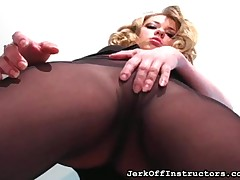 Palmy dominatrix showed the brush jugs plus shaved pussy browse pantyhose