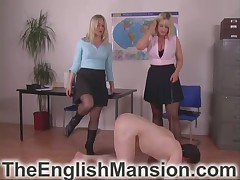 Team a few blondes caned a daddy teacher coupled with made sucking heels
