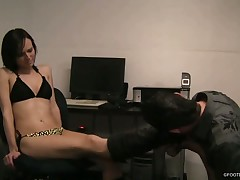 Sexy blond mistress and subby in action