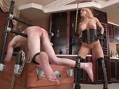 Sexy blonde beat and spanked sex slave
