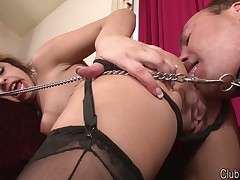 Domme is cleaning her ass with malesub's tongue