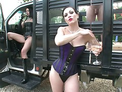 Bitch in rubber bounded slave