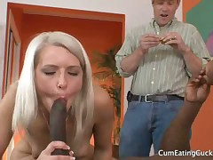 Slave boy was smothered by blonde domme