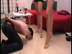 Foot fetish porn with sexy mistress and slave