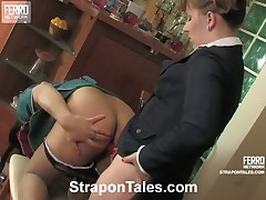 Some hot strapon sex from horny mistress Bridget