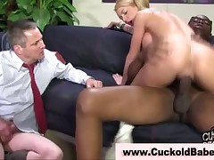 Cuck stud made engulfing her lover's darksome dick