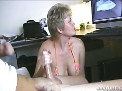 Horny wife Tracy sucking cock and eating cum