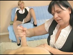 Two horny grannies tugging huge young cock till cum