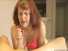 Femdom granny Angie checks Brobdingnagian bushwa with regard to feet