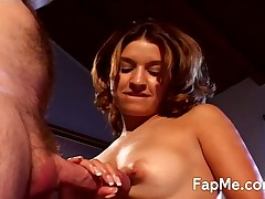 Cute big ass hottie blows cock as real pro