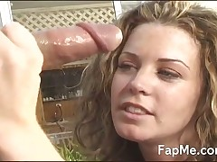 Sexy beauty makes big dork explode in her hands