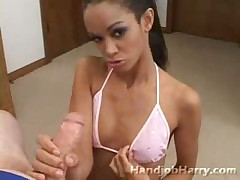 Horny exotic slut is a real handjob addict