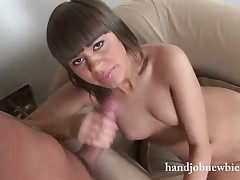 Nubile hottie gives her first hardcore handjob on cam