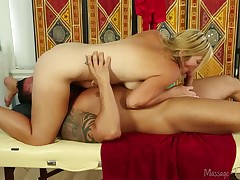 Beautiful babe Ashden pleasing big hard cock with hands