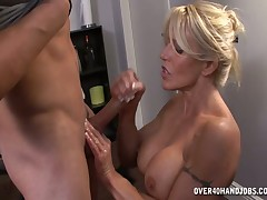 Twerp grown-up hottie Gina stroking load be advisable for shit be advisable for their way coworker