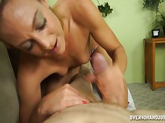 Nasty mom Charli gives excellent handjob to her stepson