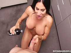 Kinky mommy Shiela Marie gives masturbating her stepson cock