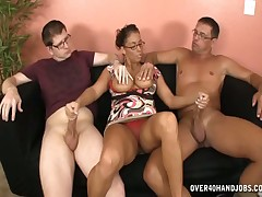 Busty mommy Stacie stroking huge cock of her stepson