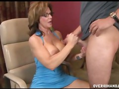 Horny mom Syren Demar masturbating her son cock