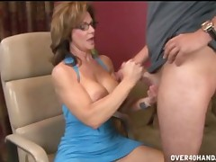 Nasty MILF Deauxma working hard on huge throbbing cock