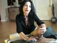 Hot Russian MILF gives hardcore intense handjob till cum