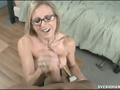 Perverse MILF loves young cocks round the brush arms