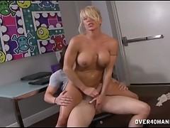 Nice mature boss Gina playing with her employee