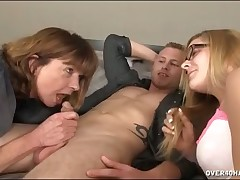 Kinky mom gives big cock sucking tutorial to daughter