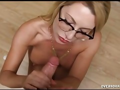 Big tits Jeniffer stroking huge cock till massive cumshot