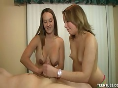 Horny cuties Amber and Lexi share huge hard dork