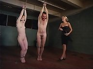 Mistress punished two slaves and made fucking