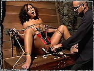 Submissive Jandi Lin is put to the test, restrictive bondage, cock sucking, orgasm denial, caning, pussy and nipplie torture