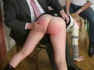 The boss is spanking a blonde secretary otk