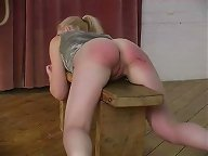 Girl gets spanked on the bench