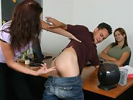 Boy strapon fucked on the table