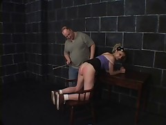 Horny guy gets his kicks from spanking a bent-over cute gal