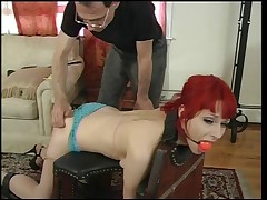 Small tits redhead gagged & bound for a spanking session