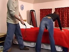 Another babe spanked with belt