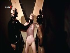 Sex slave mouth fucking a hard dick for piss in BDSM scene
