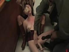 Glamorous sexy babe bound, oiled