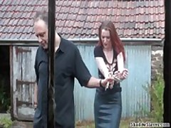 Barn slaves outdoor domination and harsh breast whipping of submissive Sacha
