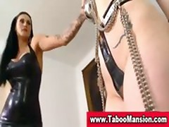 Lezdom bdsm hottie ties up slut