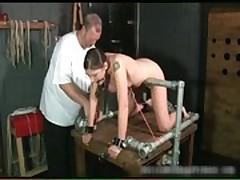 Kinky brunette slut is bound and spanked