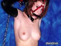 Hot sexy horny redhead babe gets bondage