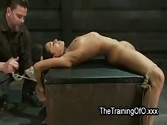 Brunette tied up and spread wide on box