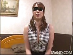 Big titty Araki is bound and blindfolded waiting on the bed