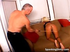 Nasty blonde bitch gets booty spanked