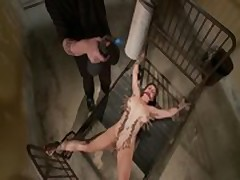 Tied bdsm bitch hot wax punished